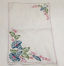 vintage small  table scarf  embroidered with blue bell flowers shabby chic decor