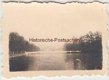 (F13540) Orig. Mini-Foto Altenburg Thür., großer Teich, Brücke zur Insel 1940er