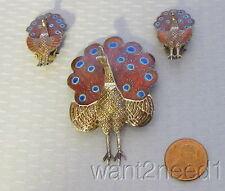 vtg SIAM STERLING RED ENAMEL PEACOCK PIN & CLIP EARRING SET hinged movable tails