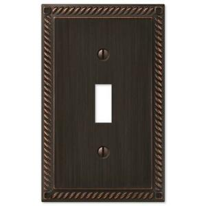 Electrical Switchplate or Outlet Cover Georgian Aged Bronze Rope Single Double