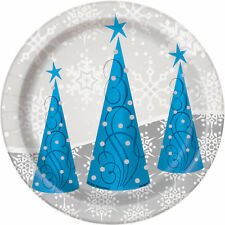8 x Blue & Silver Snowflakes & Christmas Trees Paper Party Dessert Plates 18cm