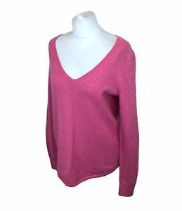 GAP Jumper Pink Boxy Fit V Neck Wool Blend Sz Medium Ladies
