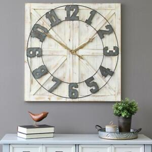 Stratton Home Decor Wall Clock Analog Rustic Farmhouse Handcrafted Wooden Frame