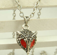 NEW Vintage Crystal fox Pendant Necklace Long Chain Rhinestone Jewelry