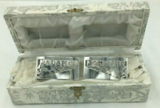 More details for art deco vintage silver plate 'monsieur and madame' napkin rings in original box