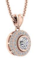 SI1 G 1.00 Carat Round Diamond Cluster Pendant Necklace 14K White Gold Appraisal