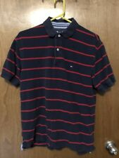 Tommy Hilfiger Mens Shirt S/S Polo Blue Red Striped Large Golf Tennis Casual