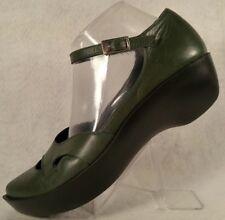 Robert Clergerie Paris Green Leather Ankle Strap Point Toe Platform Shoe Women 6