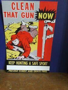Vintage Original Hunting Gun Safety Poster