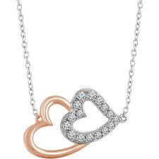 Diamante Corazón Doble 40,6 -45 , 7cm Collar en 14k blanco y oro rosa (1/5 CT.