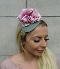Dusky Pink Blush Sage Green Rose Flower Teardrop Fascinator Hat Headband 0650