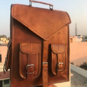 New Large Natural Leather Back Pack Rucksack Travel Bag For Men's and Women's