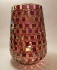 "Pink Mosaic Pieced Glass Vase, 8.5"" Tall"