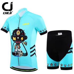 CHEJI Kids Cycling Jersey and Shorts Set Children Cycling Clothes Wear Short Kit
