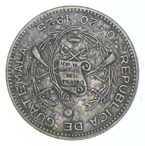 SILVER Roughly Size of Nickel 1925 Guatemala 10 Centavos World Silver Coin *646