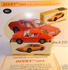DINKY TOYS ATLAS ALPINE RENAULT A310 ROUGE HAYON OUVRANT 1/43 REF 1411 IN BOX