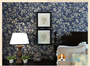 Retro Luxury Silk Effect flower Dark Night blue Designer wallpaper 10M Roll