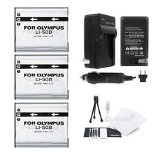 3x LI-50B Battery + Charger for Olympus SZ-31MR SZ-20 SZ-16 SZ-15 SZ-10