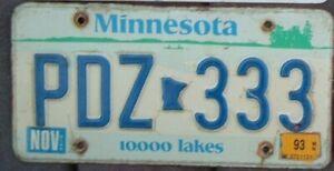 MINNESOTA Vintage 1993  License Plate - Man Cave - Garage - PDZ 333 Triple 3 s