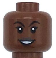 Lego New Reddish Brown Minifig Head Dual Sided Female Black Eyebrows Girl