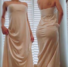 Vintage 100% Nylon Lace Beige Tan Slip Size S/M