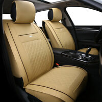 5-Seats Car Seat Covers Deluxe Leather Front Rear Cushion Full Set Universal Fit