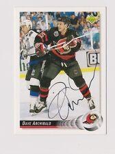 92/93 Upper Deck Dave Archibald Ottawa Senators Autographed Hockey Card