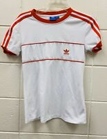 Adidas Women's Short Sleeve Top White Red Stripes Logo Sz XS