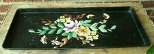 Victorian Tole Toleware Rectangle Shape Tin Serving Tray Hand Painted Floral