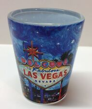 Las Vegas Welcome Sign Casino Hotels Shot Glass Whiskey Blue Drive Carefully