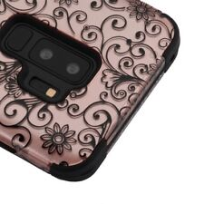 SAMSUNG GALAXY S9 PLUS G965 ROSE GOLD CLOVER FLOWER TUFF 3-PIECE CASE COVER