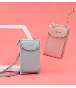 Women Leather Crossbody Phone Bag Coin Purse Wallet Cards Pouch Wristlet Handbag