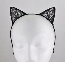 Black lace cat kitten ears headband hair band accessory kawaii cosplay costume