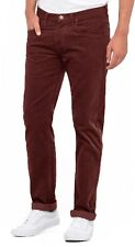 Lee Daren Zip Regular Fit Slim Burgundy Cords Stretch Corduroy Jeans Trousers