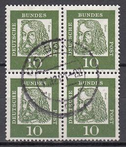 BRD 1961 Mi. Nr. 350 weißes Papier 4er Block gestempelt (18268)