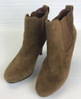"Jessica Simpson KERRA Tan Leather Suede Ankle Boots stretch panel 8B 4"" heels"