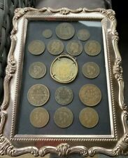 More details for joblot antique french coin collection item 1800's in frame inc date runs