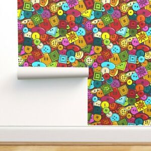 Removable Water-Activated Wallpaper Graffiti Bright Geometric Fun Sewing