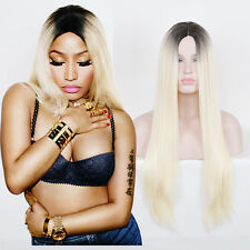 Nicki Minaj Long Straight Hair Middle Parting Black Root light Blonde ombre Wigs