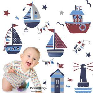Sail Boat/Ship /Stars/ Sea Gull Nursery Baby Boy Bedroom Wall Decal Sticker Art