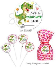 40 DINO-MITE Dinosaur Valentine's Day STICKERS school, lollipops valentine card