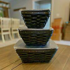 New ListingLongaberger Flare basket complete set Black, 12�, 9�, 7�, Vgc