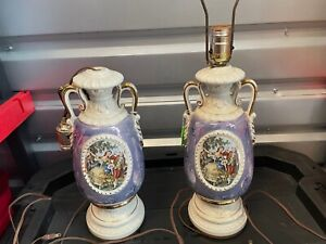 PAIR Ceramic Vintage Victorian Style Lamp Body Base Stand Only Colonial Couple