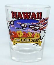 HAWAII  STATE ELEMENTS MAP SHOT GLASS SHOTGLASS