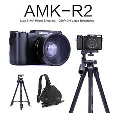 AMKOV AMK-R2 24MP 1080P HD DSLR Digital Camera+Wide-angle Lens+Tripod+Bagpack