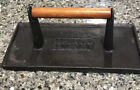 """Cast Iron CHARCOAL COMPANION Grill Meat Press WOOD HANDLE 8.75 X 4.5"""" Rectangle"""