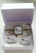 More details for cardigan welsh corgi cuff links tie clip slide by curiosity crafts
