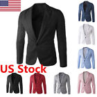 US New Men 's Slim Fit Formal One Button Suit Blazer Business Coat Jacket Tops