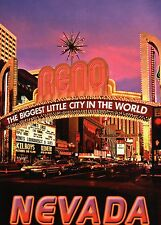 Reno Nevada, Biggest Little City in the World, NV Casino, Car Traffic - Postcard