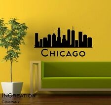 Chicago Skyline Vinyl Wall Decal Wall Sticker Man cave Bedroom Cut out Removable